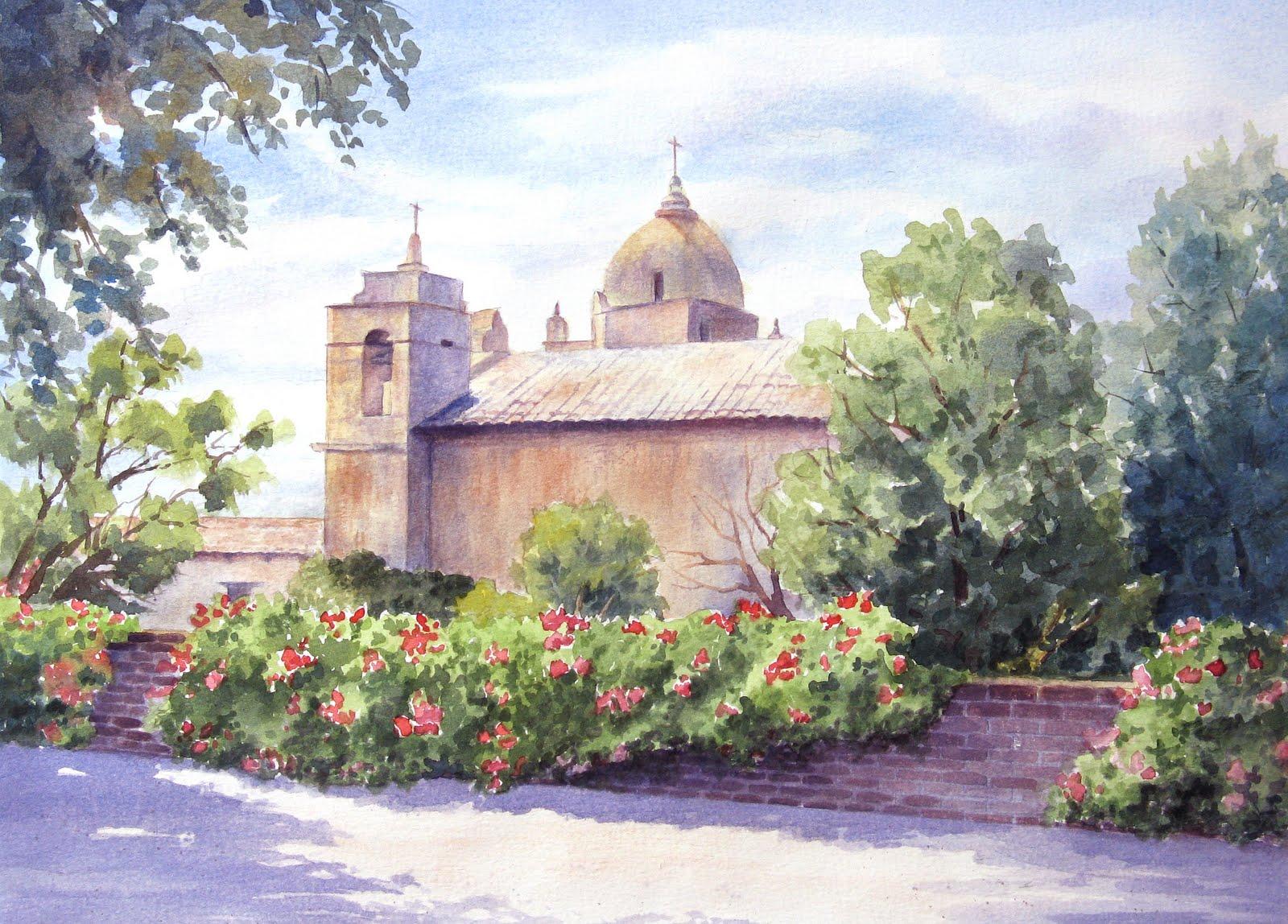 """""""Mission at Carmel"""" original fine art by Vikki Bouffard"""