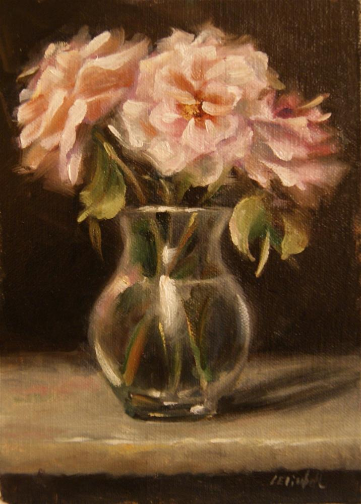 """Roses on Carrera Marble  Oil on 5x7 Linen Panel"" original fine art by Carolina Elizabeth"