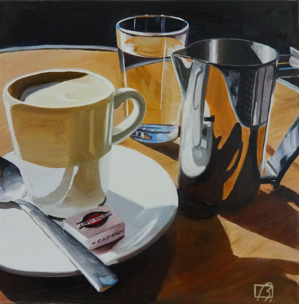 """Cafe Richard"" original fine art by Andre Beaulieu"