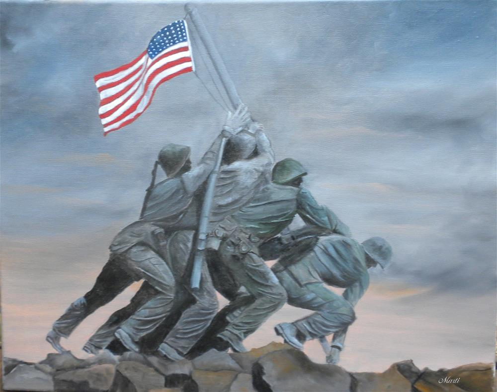 """Raising the Flag at Iwo Jima"" original fine art by Marti Idlet"