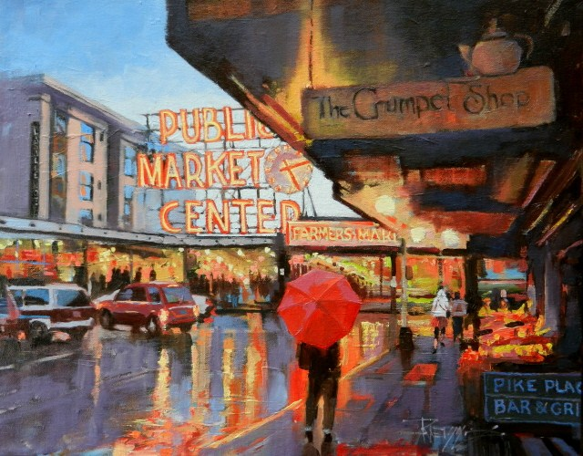 """Meet Me at the Market Pike Place Market, Seattle city oil painting by Robin Weiss"" original fine art by Robin Weiss"