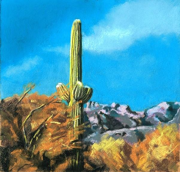 """""""Saguaro Cactus landscape painting"""" original fine art by Ria Hills"""