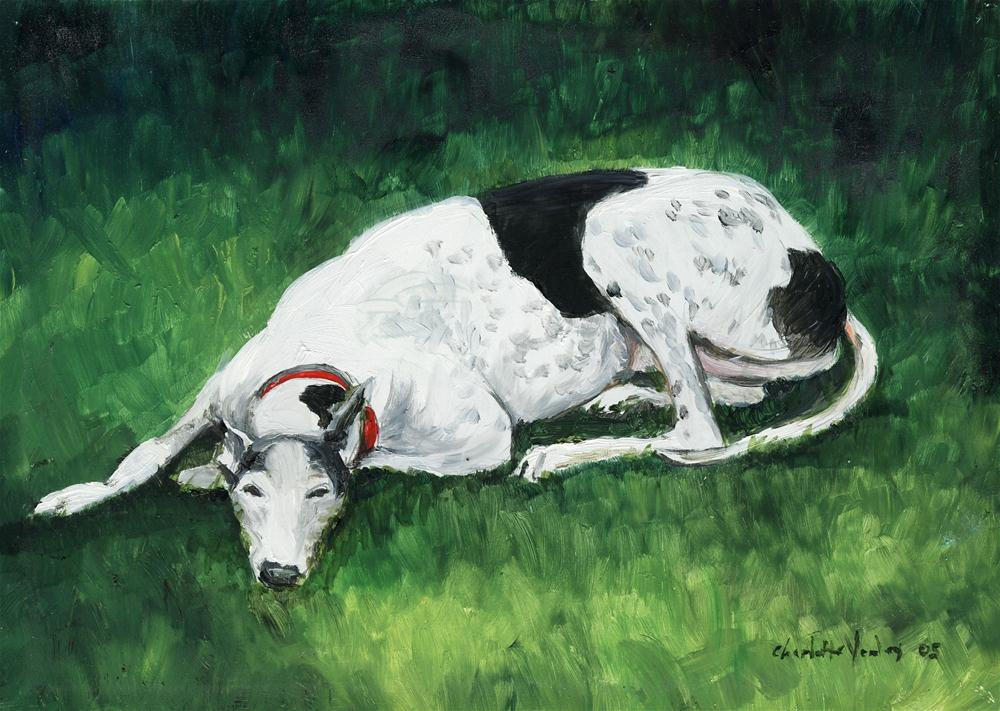 """Relaxed Greyhound"" original fine art by Charlotte Yealey"