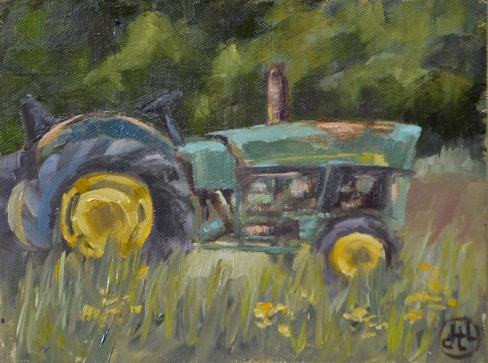 """green tractor and yellow flowers"" original fine art by Dottie  T  Leatherwood"