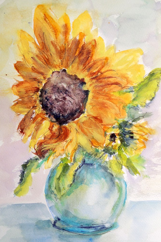 """Little Vase Big Flower"" original fine art by Mary Schiros"