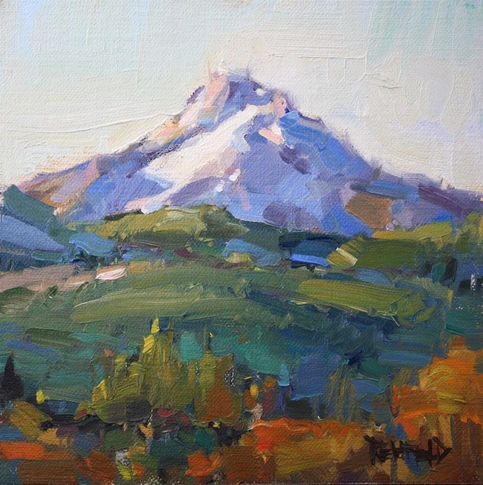 """Mt Hood Plein Air Morning"" original fine art by Cathleen Rehfeld"