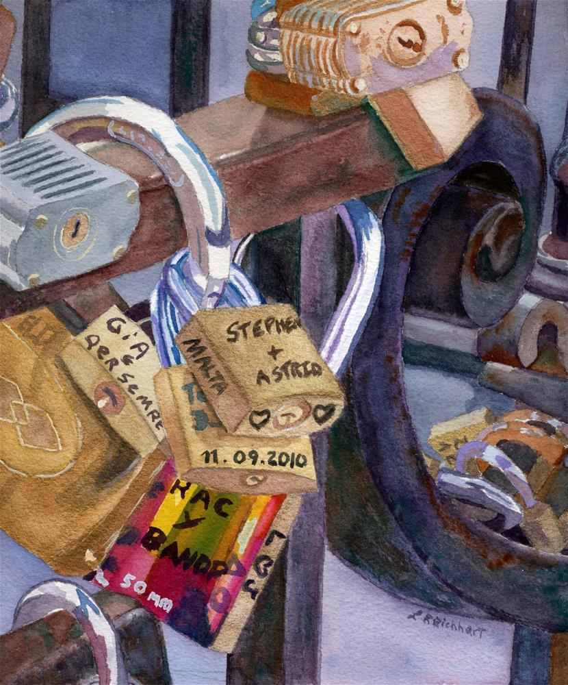 """Locks of Luck"" original fine art by Lynne Reichhart"
