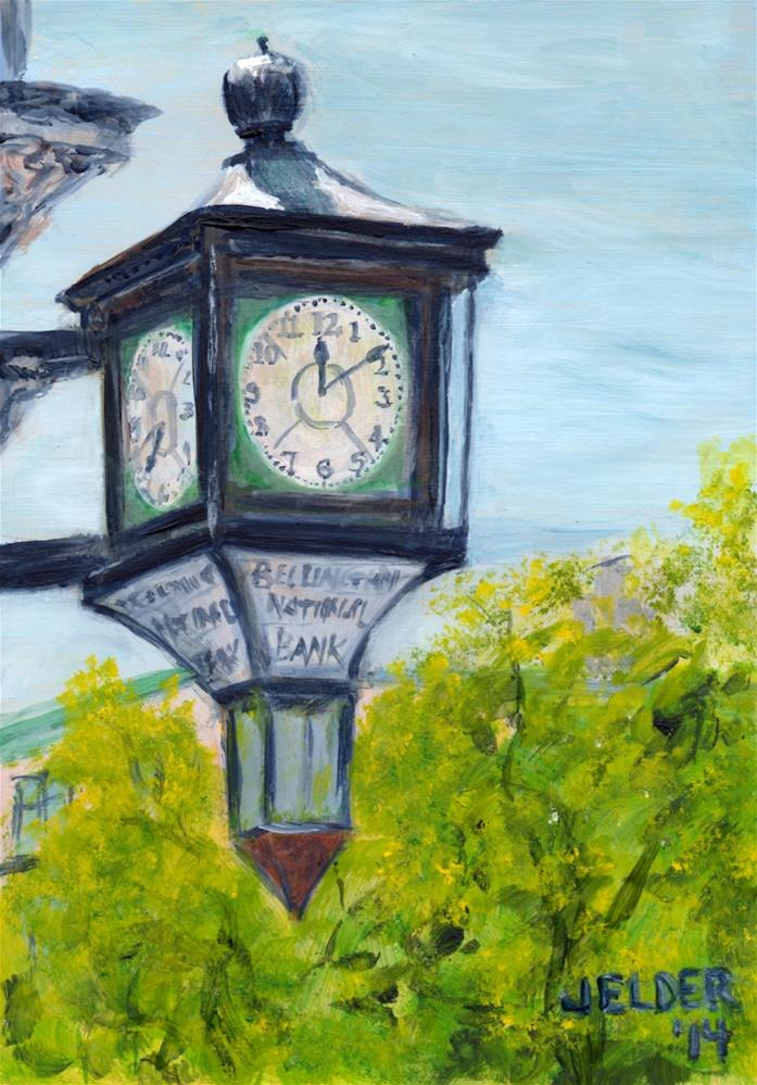 """Bank Clock, B'ham No. 7"" original fine art by Judith Elder"