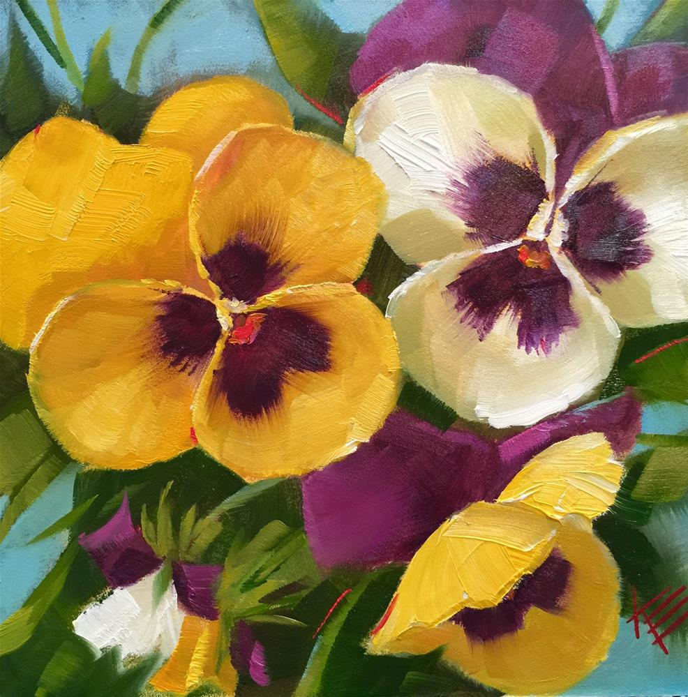 """Happy Pansies"" original fine art by Krista Eaton"