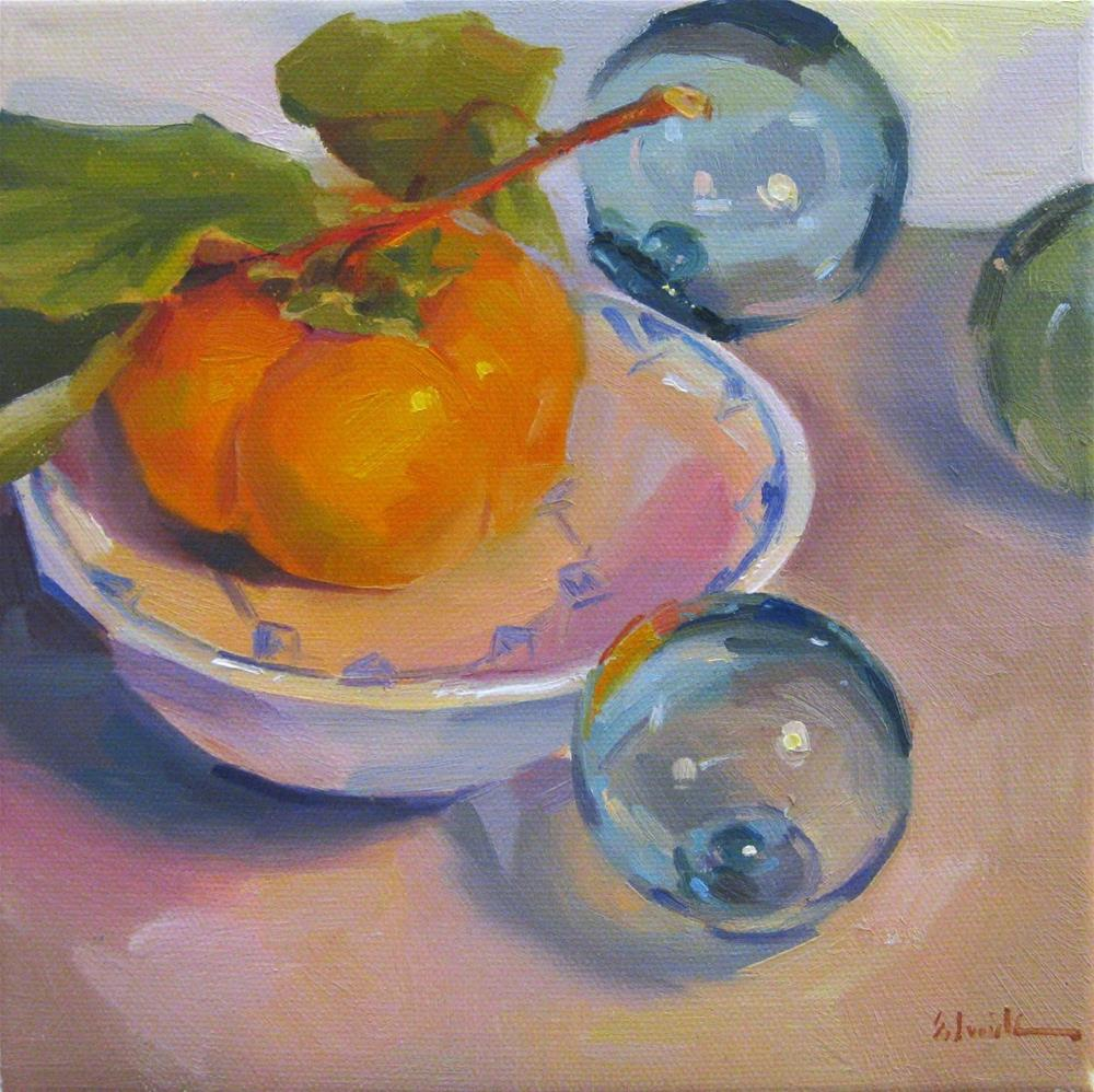 """Persimmon and Floats"" original fine art by Sarah Sedwick"