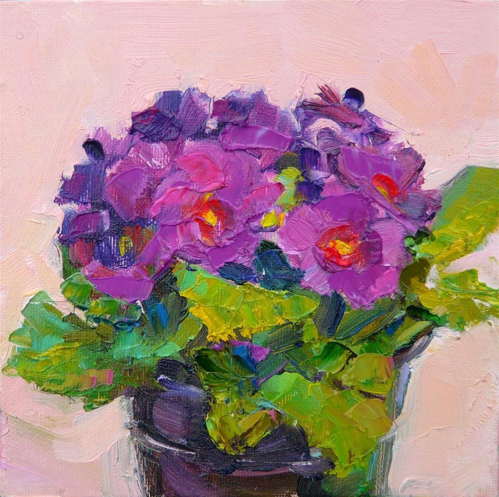 """February Primrose,still life,oil on canvas,6x6,price$200"" original fine art by Joy Olney"