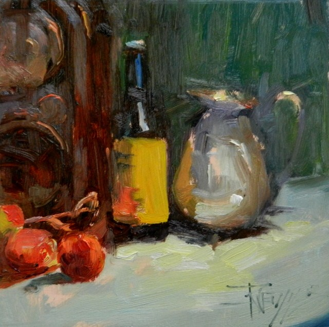 """Silver Pitcher still life oil painting by Robin Weiss"" original fine art by Robin Weiss"