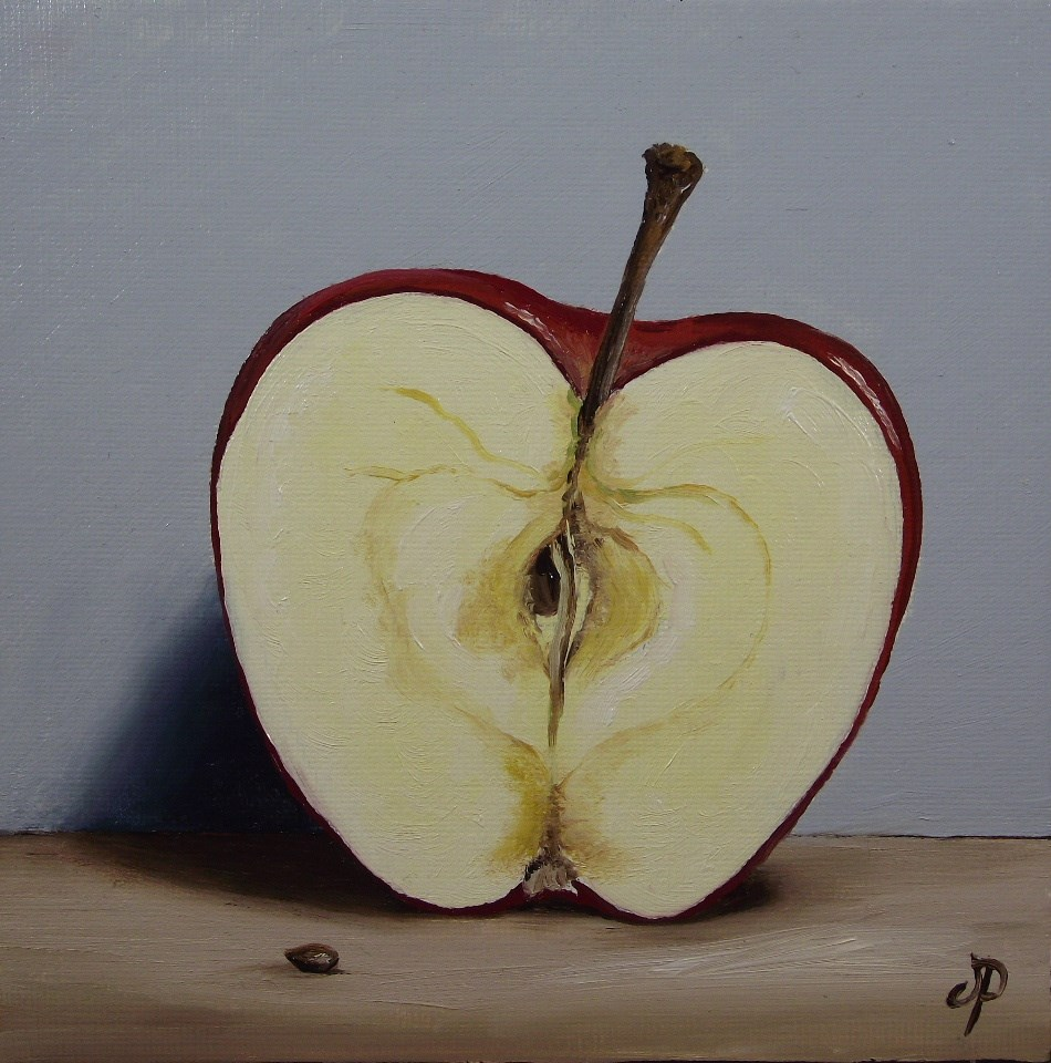 """Apple half"" original fine art by Jane Palmer"