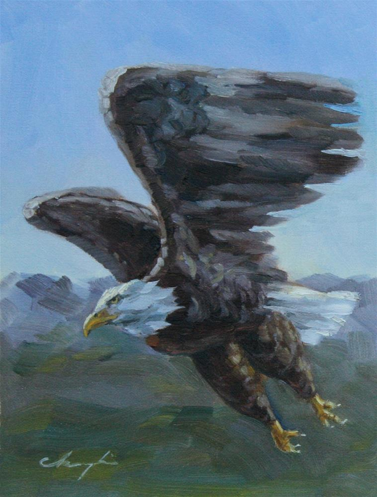 """Flying"" original fine art by Chuang Liu"