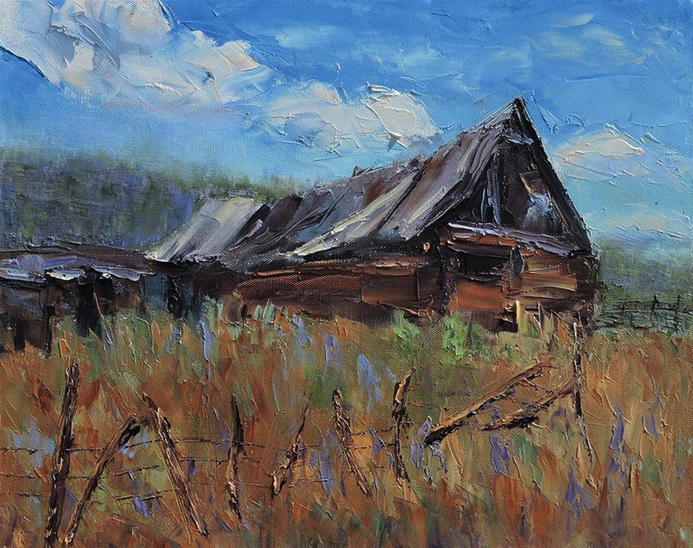 """The Old Barn"" original fine art by Linda mooney"