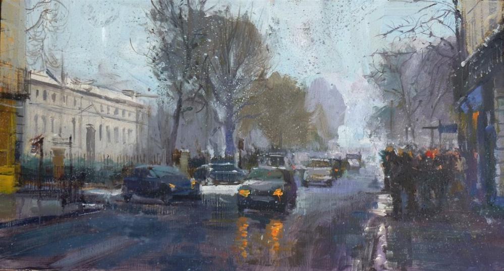 """Sleet & Grey Day, Greenwich"" original fine art by Adebanji Alade"
