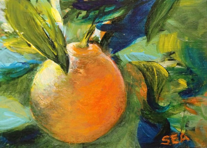 """3053 - ORANGE - ACEO Series"" original fine art by Sea Dean"