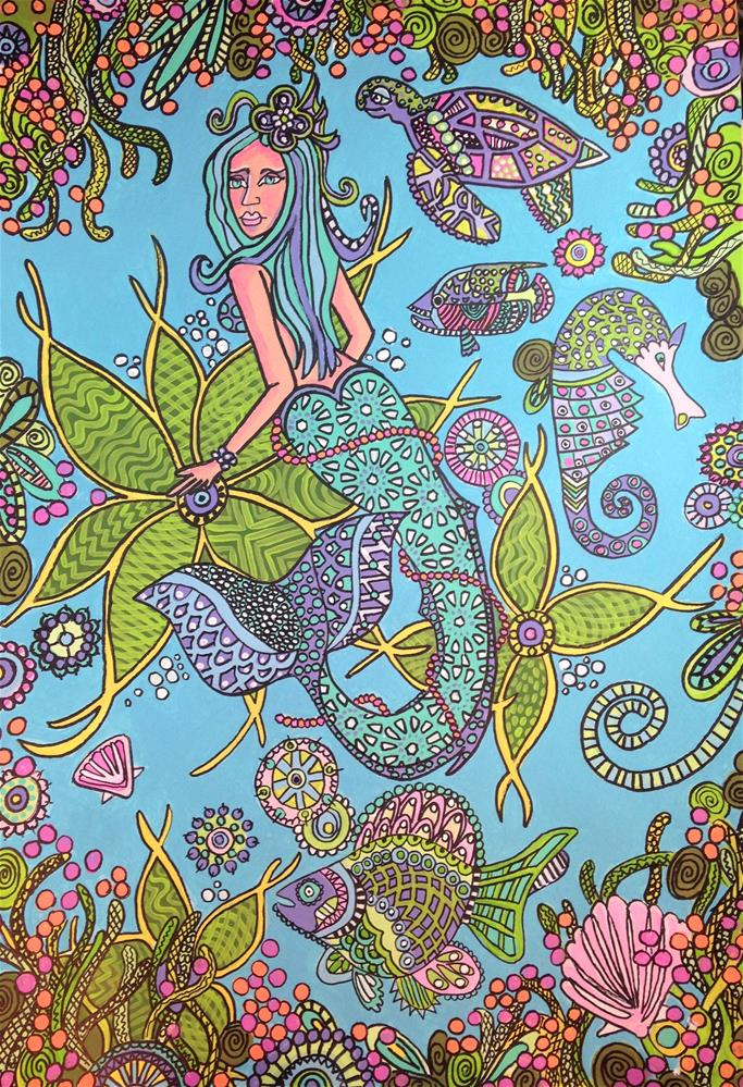 """Mermaid Zentangle 3"" original fine art by Barbara Beckmann"