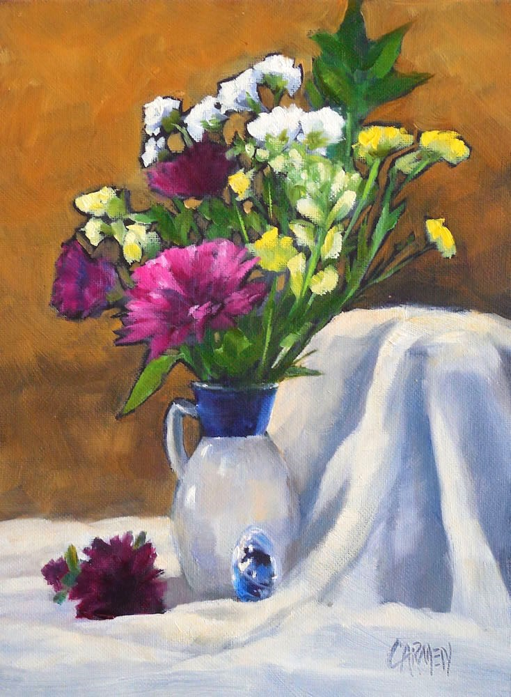 """Spring Bouquet, 6x8 Oil on Canvas Panel, Floral Painting with Yellow and Magenta"" original fine art by Carmen Beecher"