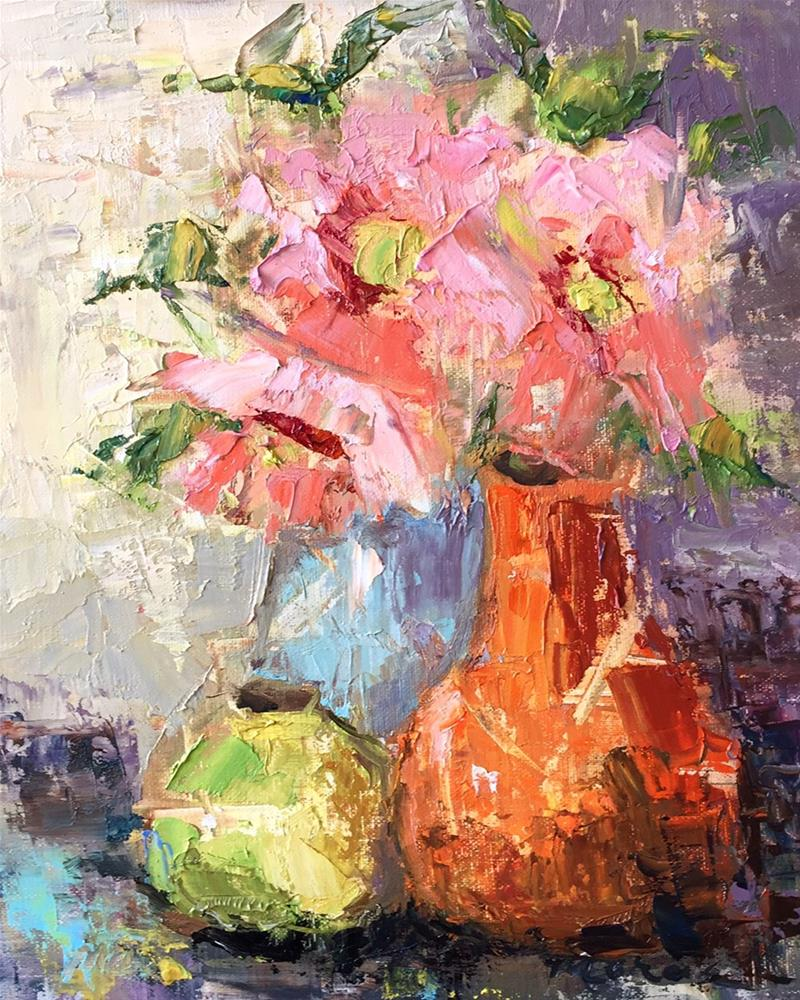 """Friends and Flower Pots"" original fine art by Marcia Hodges"