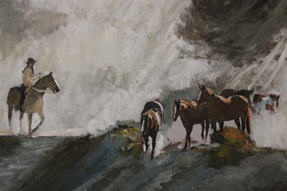 """Wild Horses #9 (10 x 8 Oil on canvas sheet - no frame)"" original fine art by Ramon DelRosario"