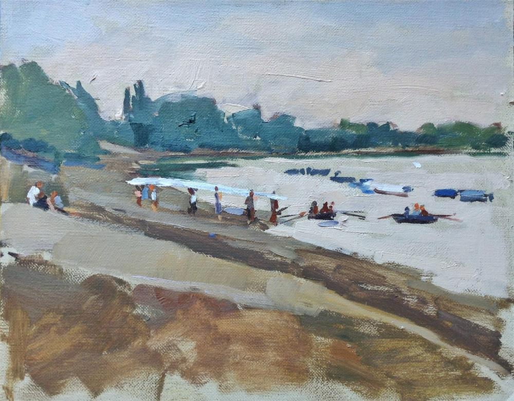 """Rowing club at Putney"" original fine art by Haidee-Jo Summers ROI"