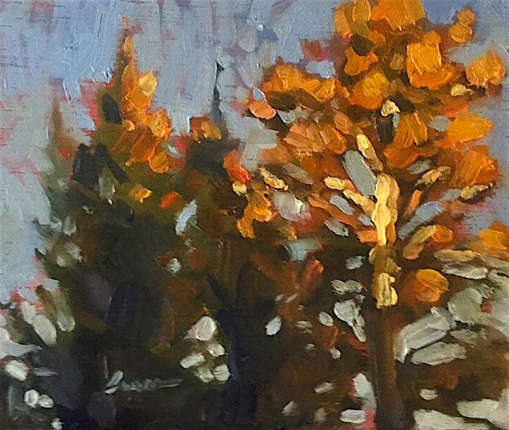 """Tree Tops at Sundown"" original fine art by Chris Long"