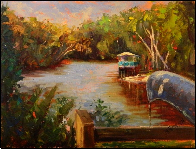 """A Morning at Snook Haven, 12x16, oil on board by Maryanne Jacobsen, plein air, Myakka River, river"" original fine art by Maryanne Jacobsen"