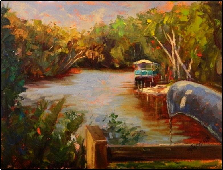 """A Morning at Snook Haven"", 12x16, oil on board by Maryanne Jacobsen, plein air, Myakka River, river original fine art by Maryanne Jacobsen"