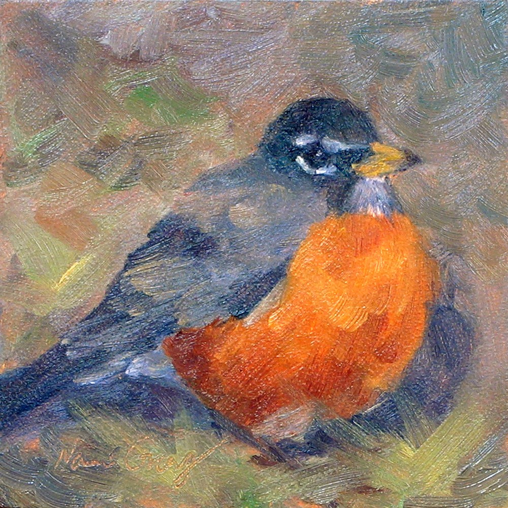 """Backyard Robin"" original fine art by Naomi Gray"