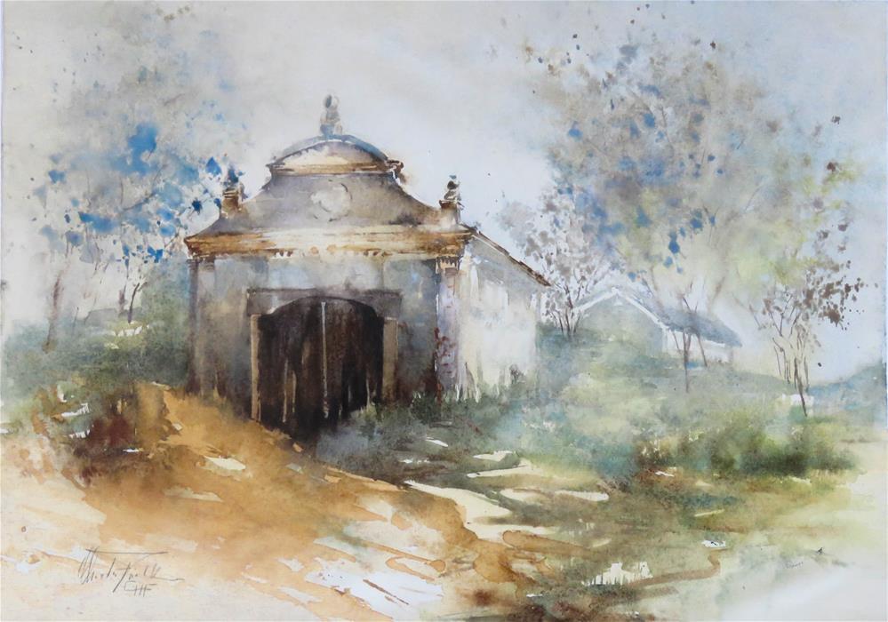 """Listed Wine Cellar"" original fine art by Christa Friedl"