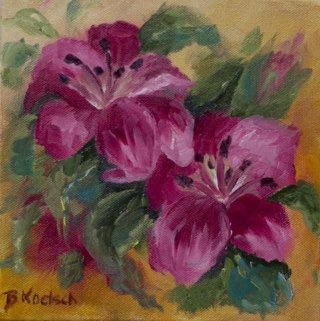 """""""Lillies In Bloom"""" original fine art by Bobbie Koelsch"""