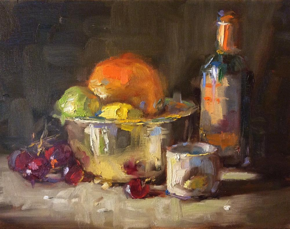 """Wine and fruit"" original fine art by Jenny Buckner"