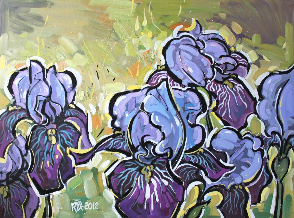 """Iris abstraction 9"" original fine art by Roger Akesson"