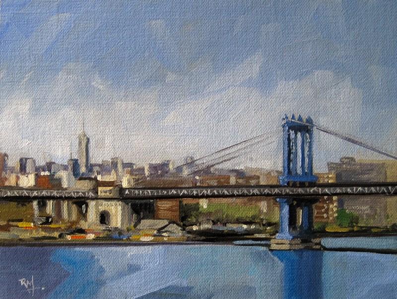 """""""No 789 Manhatten Bridge"""" original fine art by Robin J Mitchell"""