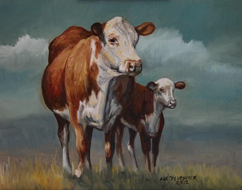 """""""Hereford Cow and Calf 120725"""" original fine art by Sue Deutscher"""