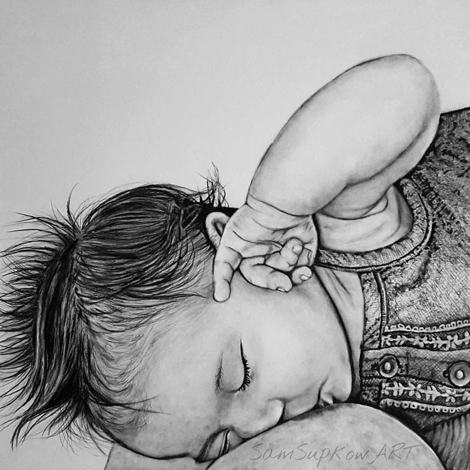"""Lia nursing."" original fine art by Sam Supkow"
