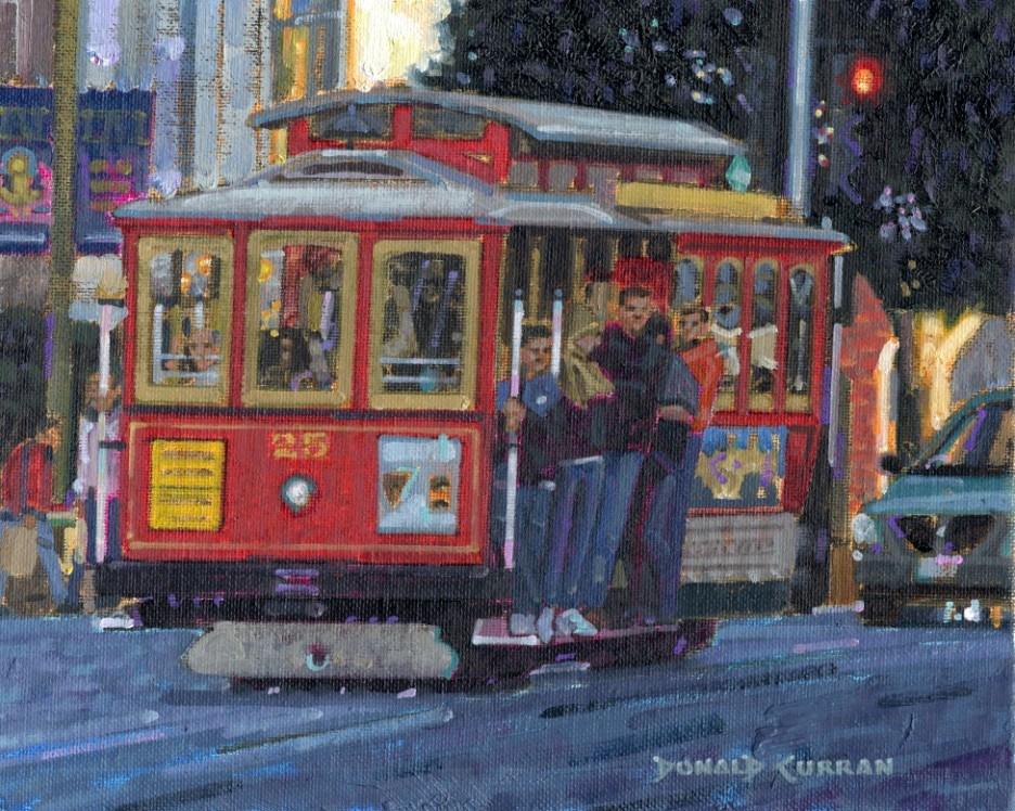 """Street Trolley"" original fine art by Donald Curran"