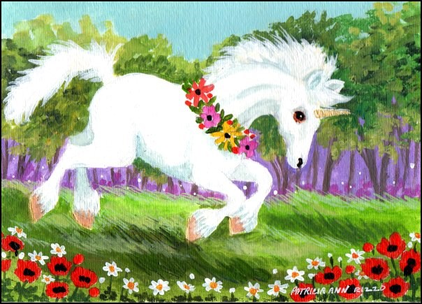 """Happy Little Unicorn"" original fine art by Patricia Ann Rizzo"