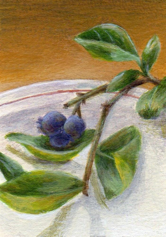 """Blueberry Branch"" original fine art by Debbie Shirley"