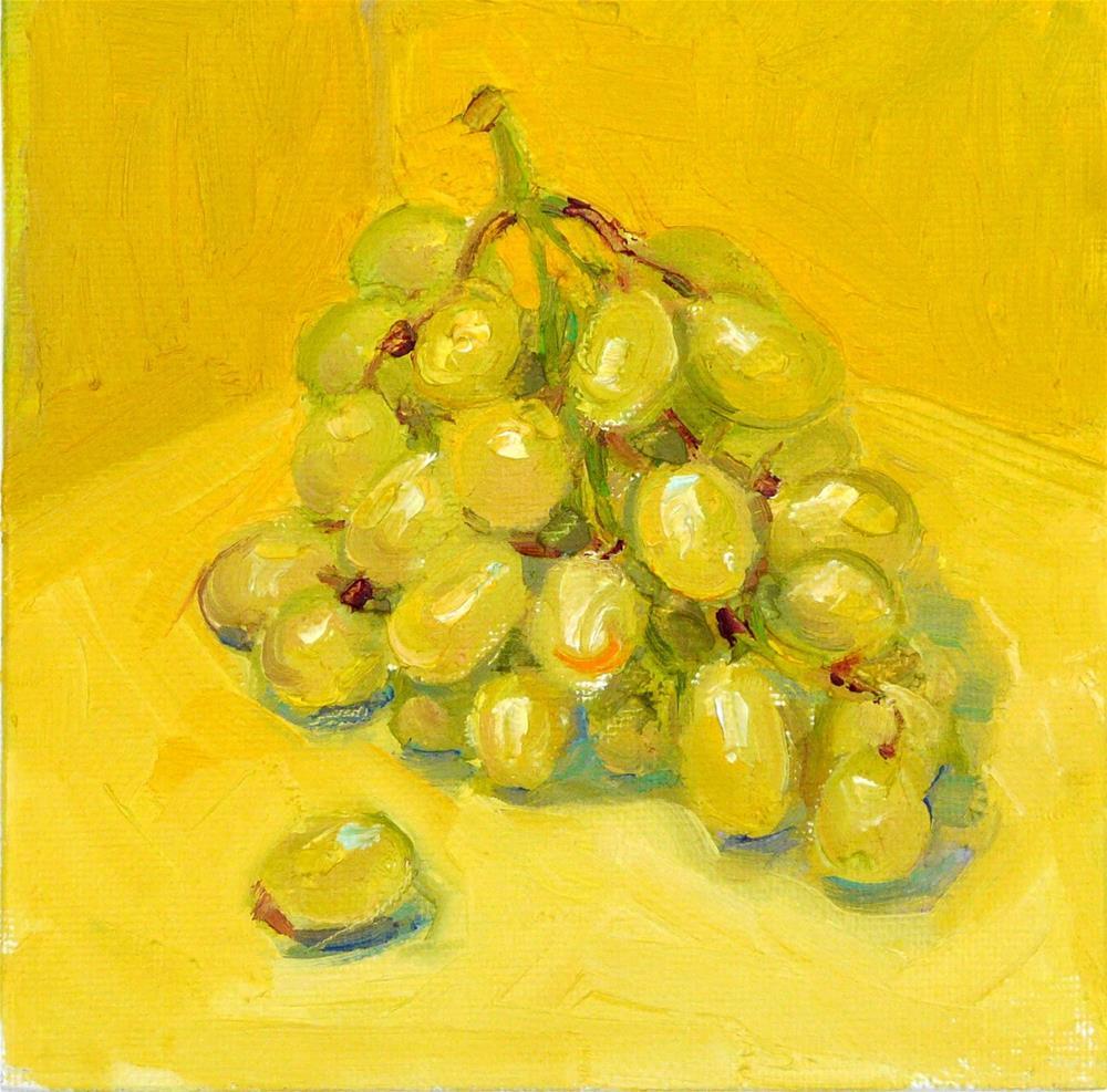 """Green Grapes on Yellow,still life,oil on canvas,6x6,price$200"" original fine art by Joy Olney"