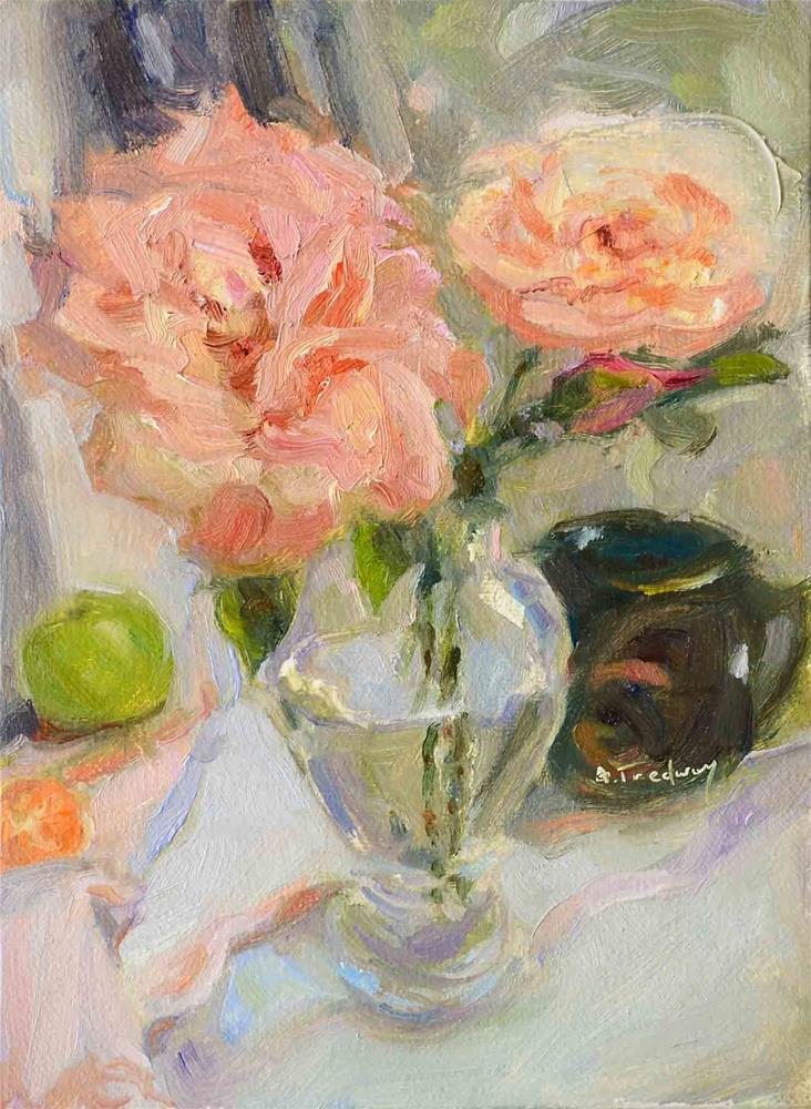 """Roses with Cup"" original fine art by alicia tredway"