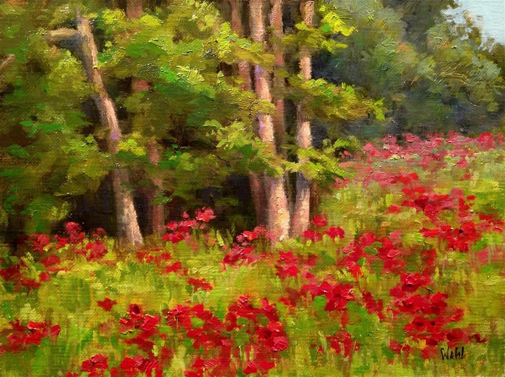 """""""Roadside Crimson"""" original fine art by Nancy Wahl"""