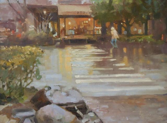 """The Black Bird Cafe  Bainbridge Island oil painting by Robin Weiss"" original fine art by Robin Weiss"