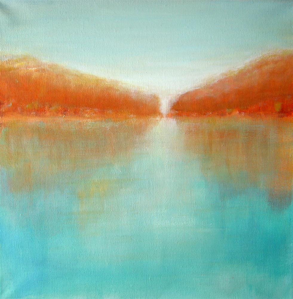 """Orange Forest Abstract Landscape"" original fine art by Alina Frent"