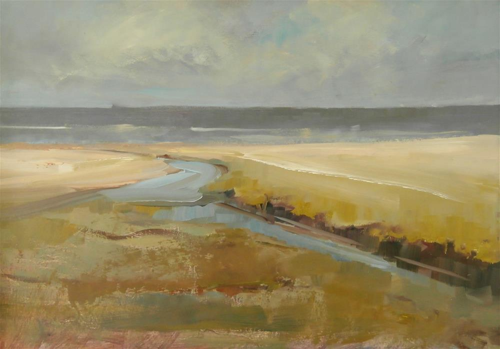 """Sun on sandbanks"" original fine art by Anne Wood"