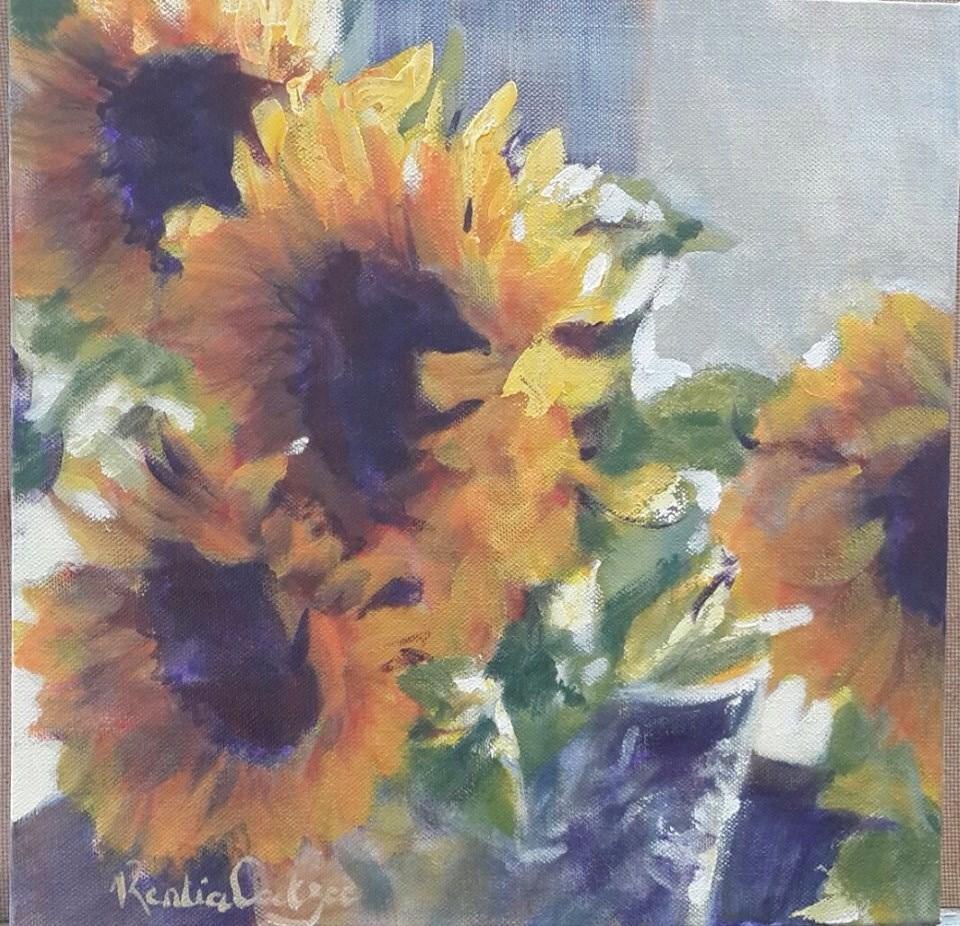 """Sunfllower medley"" original fine art by Rentia Coetzee"