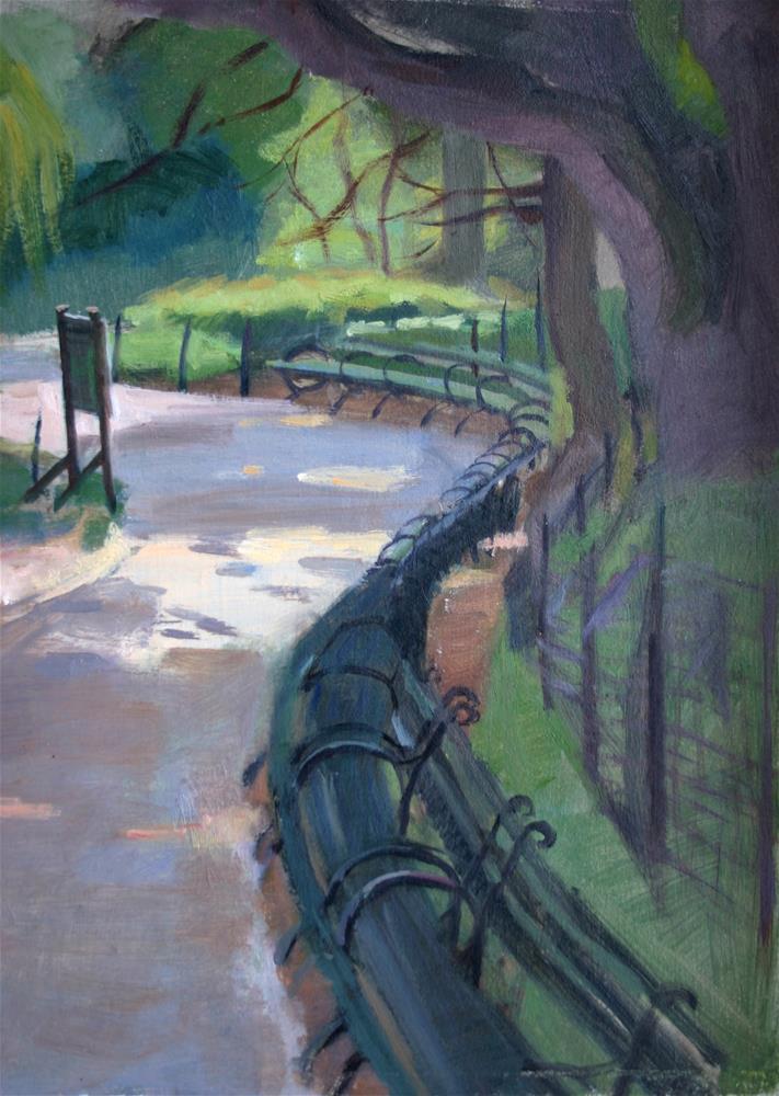 """Central Park Benches"" original fine art by Ann Buenaventura"