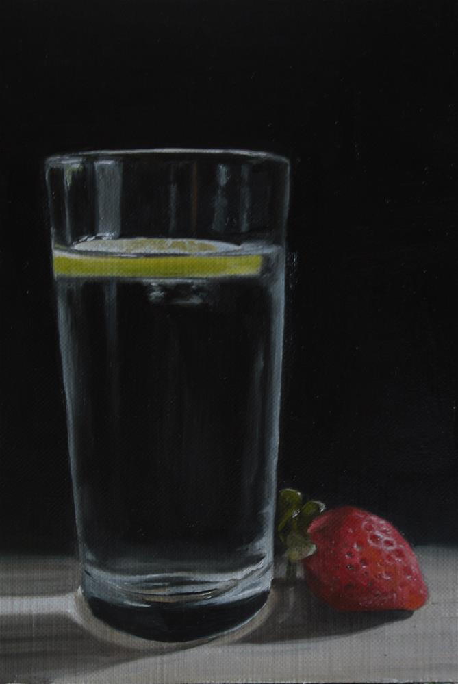 """Glass of Water and Strawberry"" original fine art by James Coates"