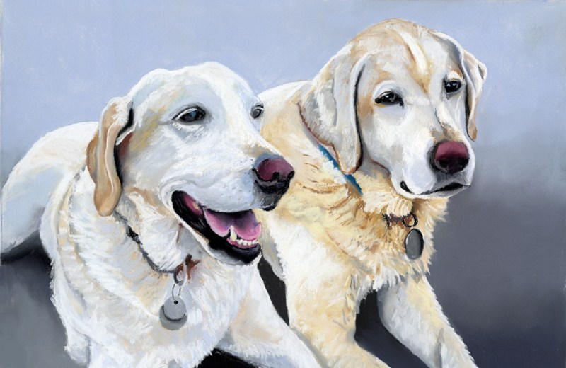 """Scout and Benny commissioned portrait"" original fine art by Ria Hills"